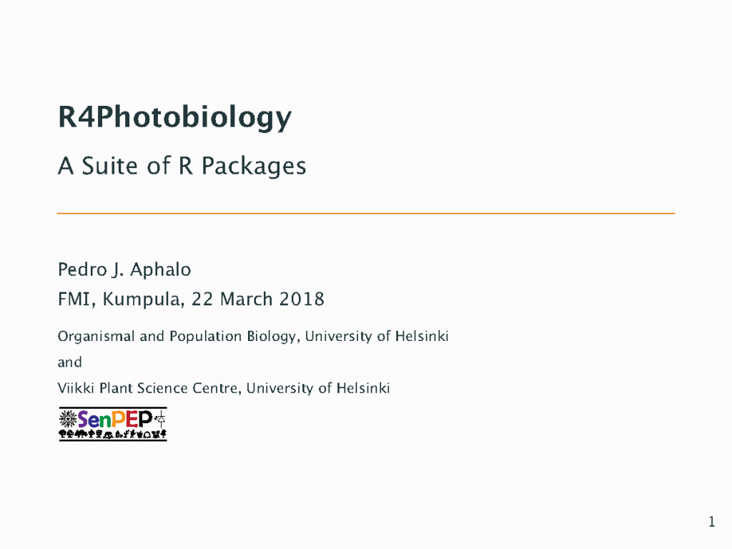 """Talk at the """"UV Research in Finland"""" seminar – Using R for photobiology"""